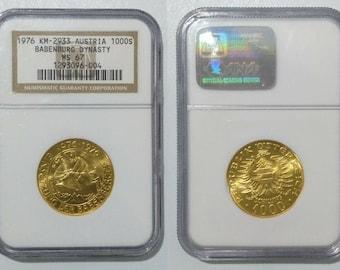 1976 Austria Gold Coin 1000 Schillings Graded NGC MS 67 Babenberg Dynasty Republik Osterreich Imperial Eagle Duke Friedrich II Horse & Rider