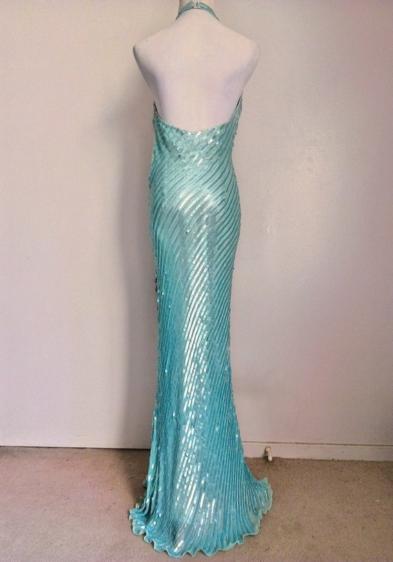 Green Aqua Dress Floor Silk Blue Beaded Neck Length Heavy V Gown Size XS Strap Sequins Hollywood Halter Niteline Sequined 0 Shimmer Glamour ZXvAqI
