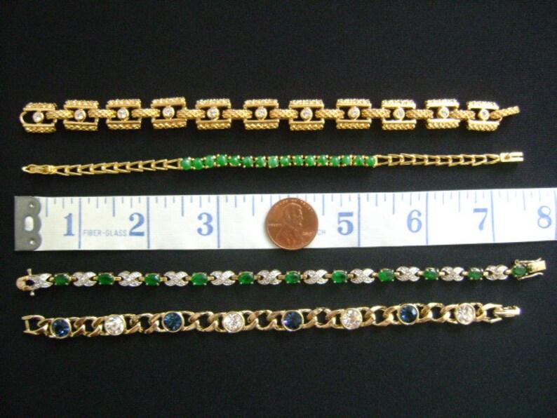 Easter Spring Mother/'s Day SALE Lot 4 Gold Tone Plated W Man Made Gemstones Emerald Green Blue Clear Crystal Rhinestones Bracelets Bracelet