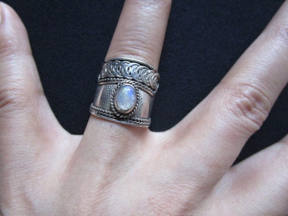 #MOONSTONE-SR7 Lovely Vintage Blue Flash Moonstone Cabochon Sterling Silver Ring FREE SHIPPING