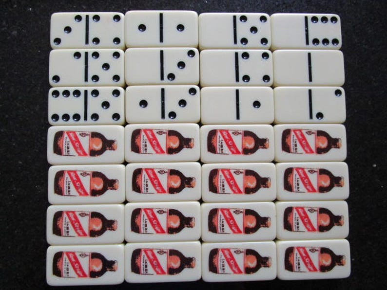 Vintage RED STRIPE Jamaican Lager Beer Bottle Advertising Double Six Domino Marblelike Dominoes Game 28 Set Brewery Collectibles Toys Games