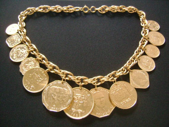Franklin Mint Die Golden Caribbean 14 Münzen Charm Halskette Etsy