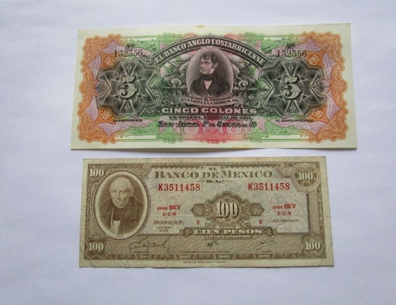 3 BANKNOTES  OF 5 COLONES IN DIFFERENT DESIGNS