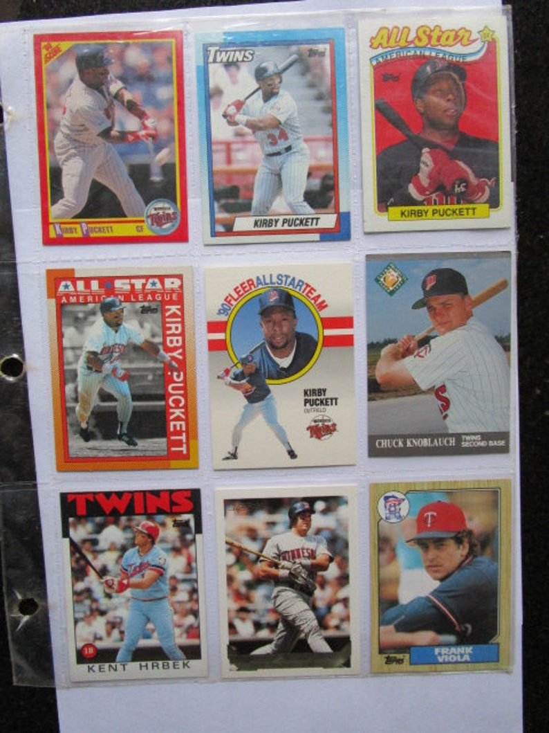 Minnesota Twins Baseball Cards Lot 80s 90s In Binder Sleeves Kirby Puckett Kent Hrbek Frank Viola Chuck Knoblauch Buy Collect Sport Cards