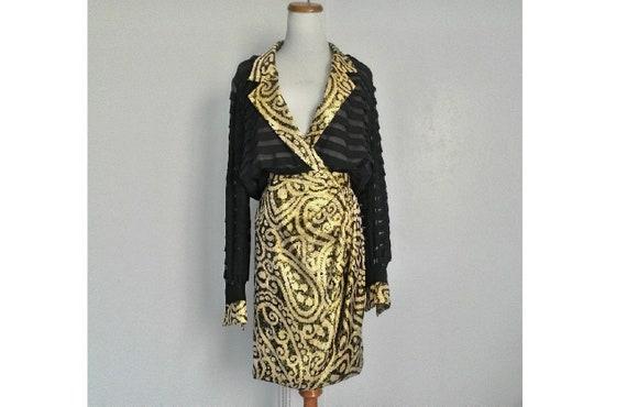 Vintage ESTEVEZ Luis Estévez Black & Gold Silk Ple