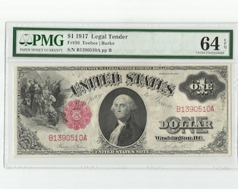 George Washington United States US 1917 Note One Dollar Bill Paper Money Old Currency Graded 64 PMG Choice Uncirculated FR-36 Teehee Burke