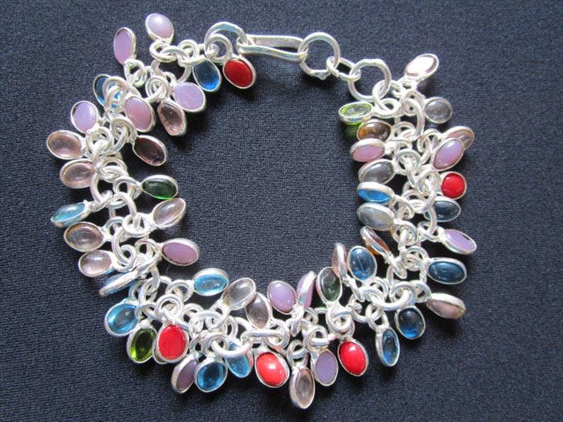 Fabulous Beautiful Colorful Rainbow Dangling Charms Bezel Setting Stones Glass Beads Bracelet Silver Plated Metal Boho Hippie Style Jewelry