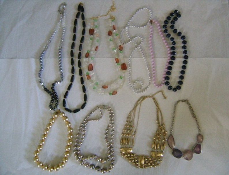 10Piece Lot Glass AB Crystal Plastic Lucite GoldSilver Tone Metal Beads Long Collar Necklaces Beautiful Collection Variety of Styles Colors