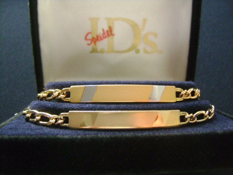 SPEIDEL Couples BFF 2 Vintage ID Bar Bracelets Set Friendship Best Friends Sisters Teenagers Gold Plated Figaro Chain Link Engravable Box