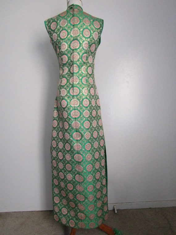 Pink Oriental Japanese Dress Mandarin Tapestry Slits SM Stunning Gold Chinese Collar Satin Tapestries Size Vintage Side Inspired Green Asian Xq6R8wC