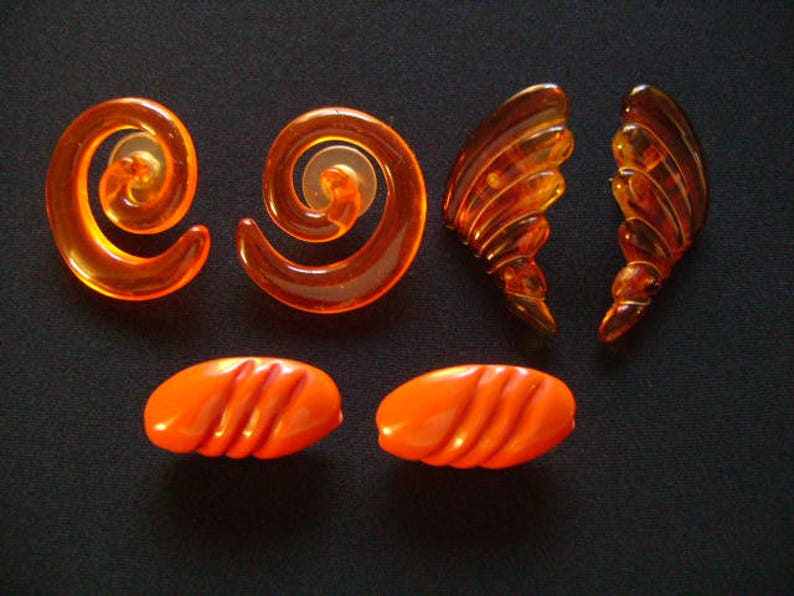 67ee6f67741 Vintage Accessories Lot3 Pair Faux Tortoise Shell Old Plastic Amber Orange  Brown Color Elegant Swirl Wing Designs Pierced Post Back Earrings