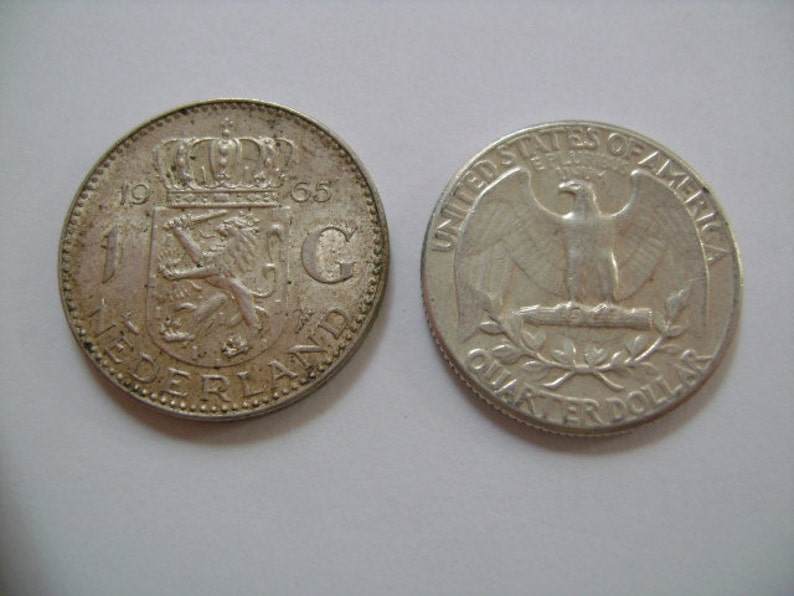 2 Silver Coins Collecting Lot 1963 Washing US Quarter 25 Cents /& 1965 Dutch Netherlands 1 Guilder Gulden Coin Both Almost Uncirculated Grade