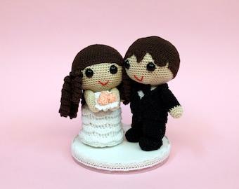Amigurumi bride and groom wedding dolls wedding gift wedding decoration cake topper