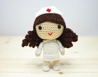 Amigurumi Crochet Nurse Doll Handmade  - MADE TO ORDER -