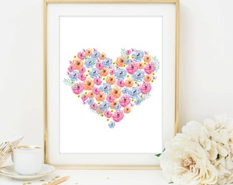 heart print love print printable art heart printable watercolor flowers art watercolor wall art watercolor printable home print office decor