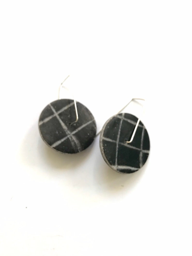 Round spinner disc hoop earrings black gray grid earrings kinetic circle spin earrings.
