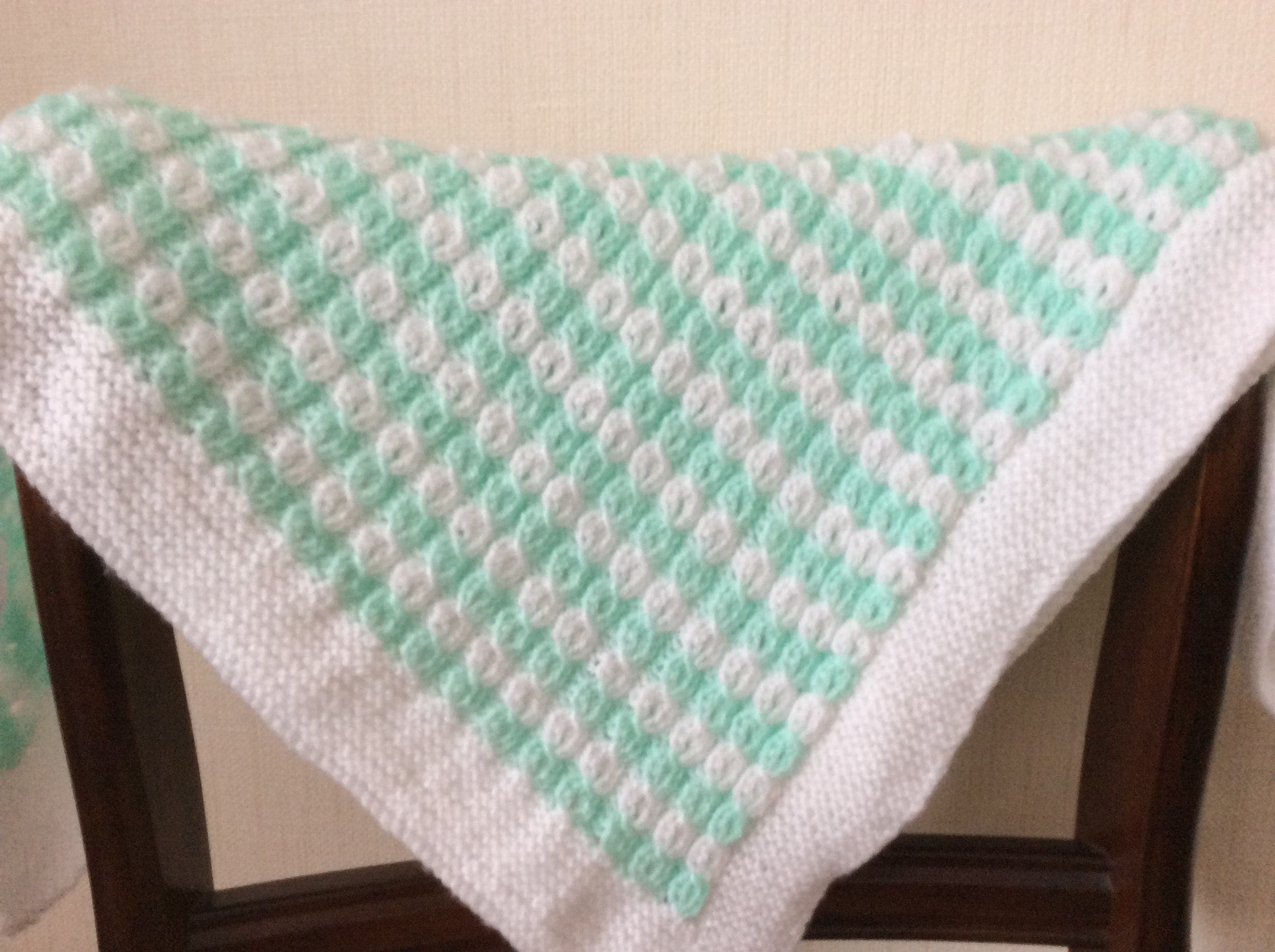Baby Blanket Hand Knitted In Mock Cable Patternturquoise