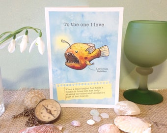 Downloadable print your own card. Funny nerdy valentine card. Angler fish love
