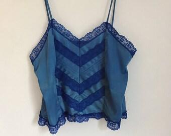 Vintage Blue Lingerie Camisole with Chevron Lace