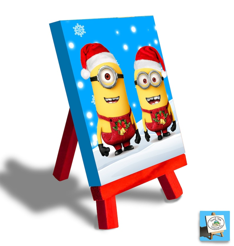 Minions Christmas.Despicable Me Minions Christmas Decoration Mini Canvas Desktop Canvas And Easel Set The Perfect Christmas Gift