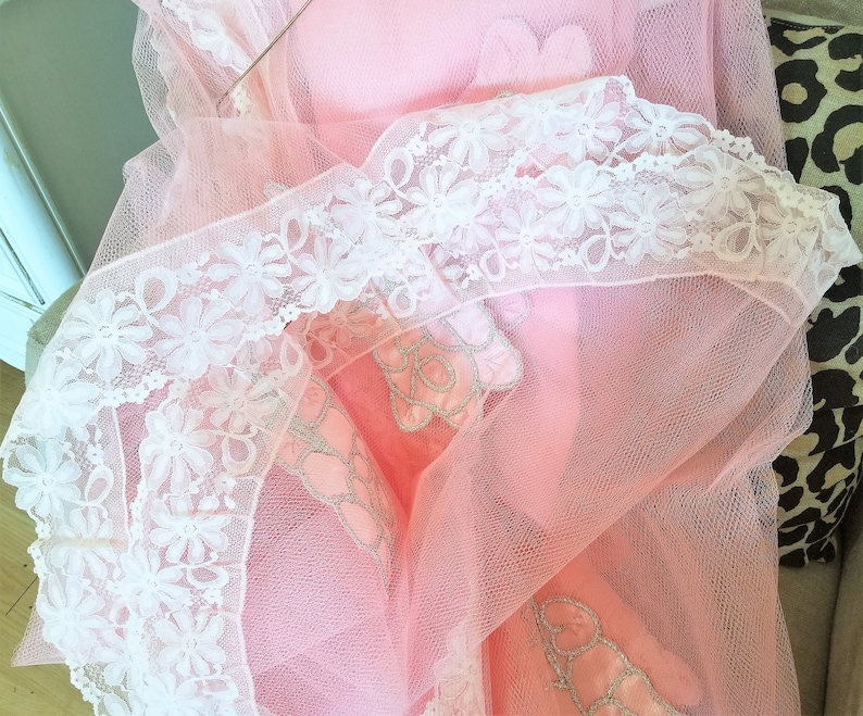 Vtg Pink Tulle Table Cloth Satin Rose Applique Lace Trim 103 X 77 Wedding Spring WOW antique shabby kitchen