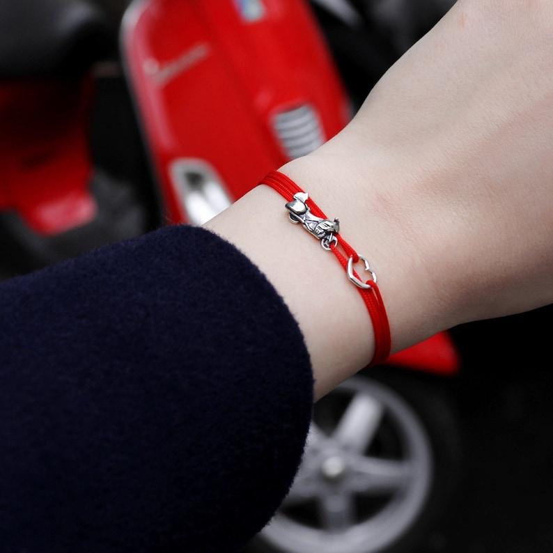 Custom Motorcycle Silver Chain Bracelet Choose Initial Charm Harley Goldwing