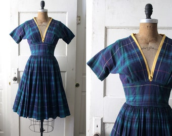 977160d9bd0f Vintage 1950s Green   Navy Plaid Dress   50s Cotton Fit and Flare Dress    Katherine Dress