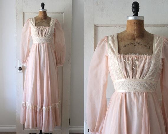 Vintage 1970s Gunne Sax Dress / 70s Pink Cotton Ga