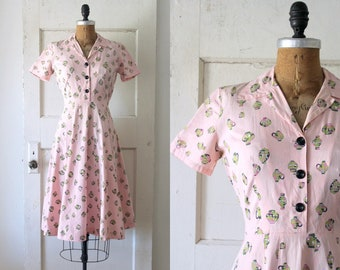 Vintage 1930s Urn Novelty Print Dress / Late 30s Pink Cotton Vase Print Dress / Helena Dress
