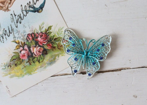Vintage 1960s Large Blue Butterfly Brooch / 1950s… - image 2