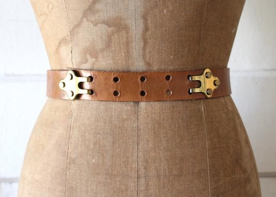 Vintage 1950s Tan Leather Belt with Brass Hooks /