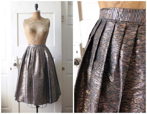 Vintage 1950s Metallic Circle Skirt / 50s Copper a