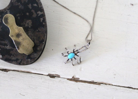 Vintage 1970s Spider Necklace / Sterling Silver Sp