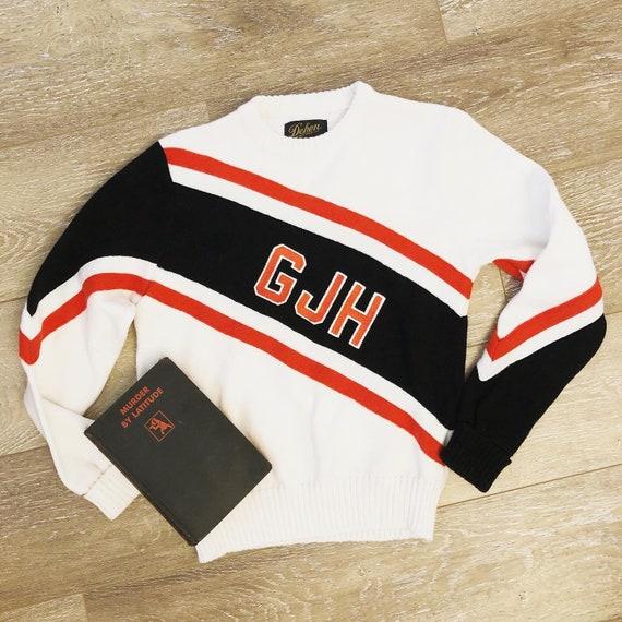 Vintage 1970s Cheerleader Sweater / 70s Acrylic Kn