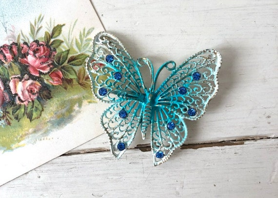 Vintage 1960s Large Blue Butterfly Brooch / 1950s… - image 1