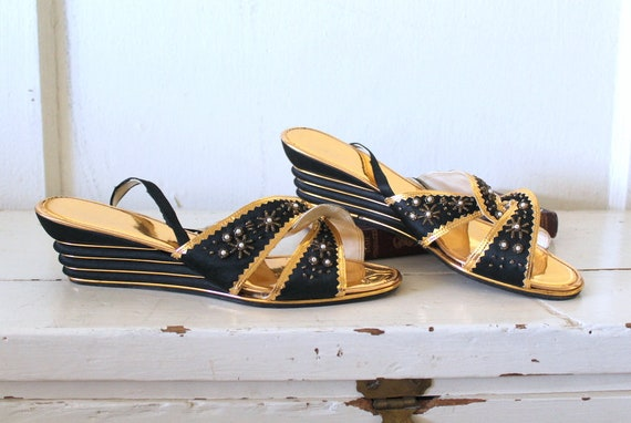 Vintage 1950s Black Satin and Gold Slippers / 1930