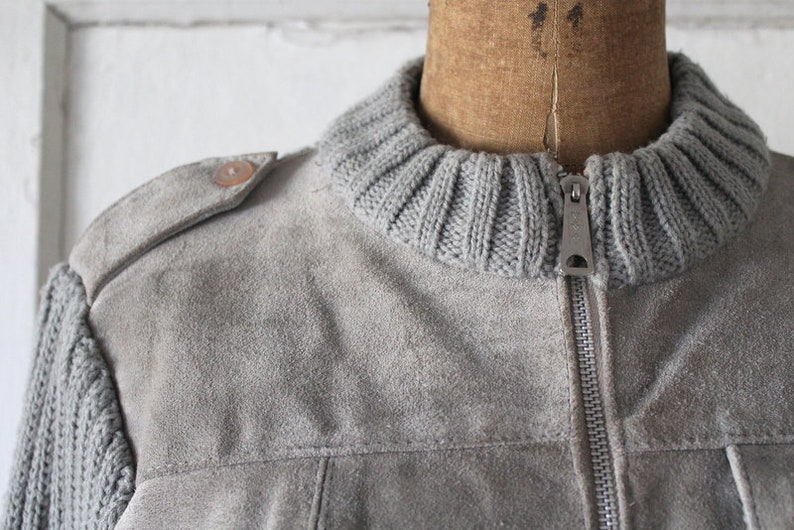 Vintage 1970s Grey Suede and Knit Sweater Jacket  1940s Style Sportswear Jacket  Allison Jacket