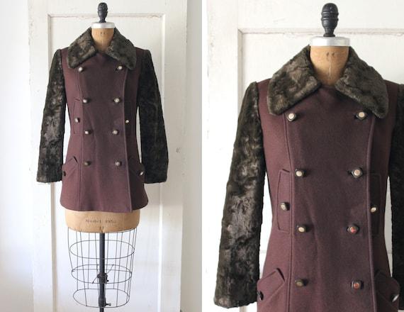 Vintage 1960s Brown Teddy Bear Coat / 60s Wool Pea