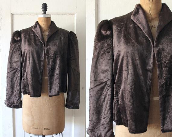Vintage 1930s Brown Textured Velvet Jacket / 30s V