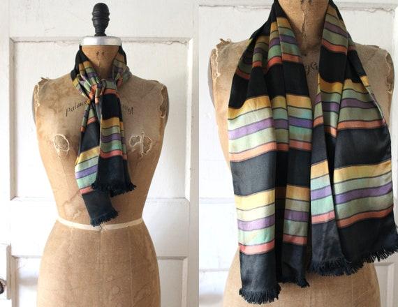 Vintage 1930s Satin Striped Scarf / 30s Rainbow an