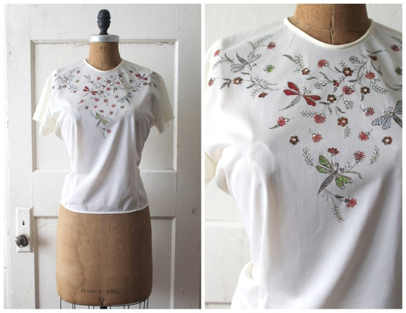Vintage 1940s Dragonfly Painted Blouse / Late 40s