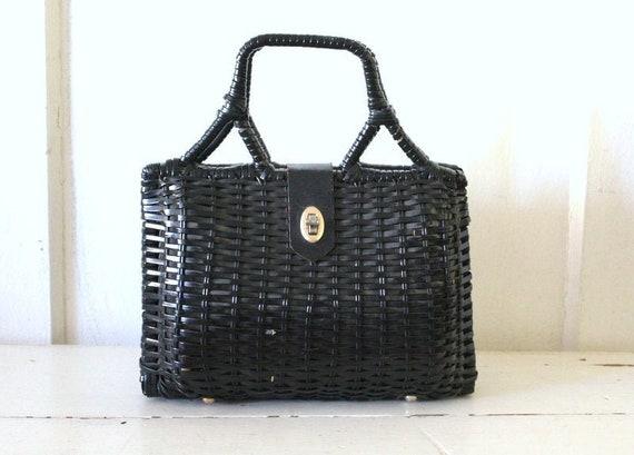 Vintage 1950s Black Wicker Handbag / 50s Large Wic