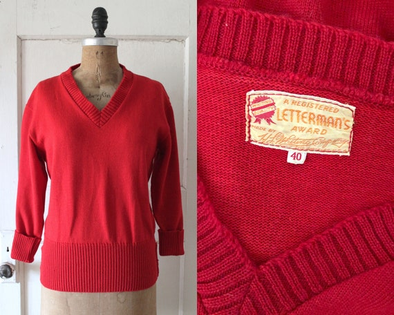 Vintage 1950s Red Wool Letterman Sweater / 50s Let