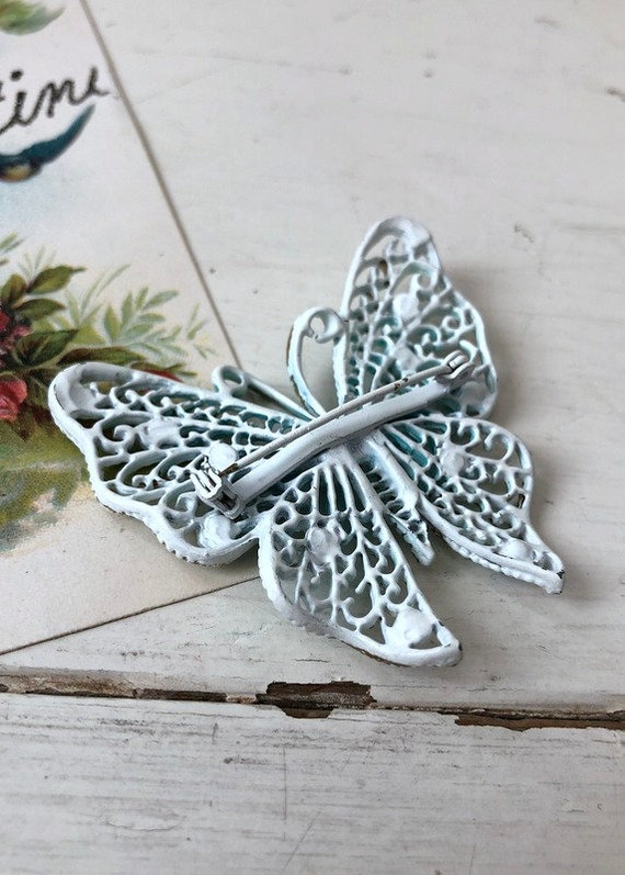 Vintage 1960s Large Blue Butterfly Brooch / 1950s… - image 4