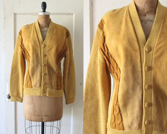 Vintage 1960s Mustard Suede and Knit Sweater / 60s