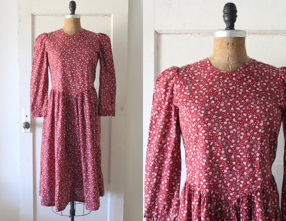 Vintage 1980s Red Floral Cotton Prairie Dress / 80