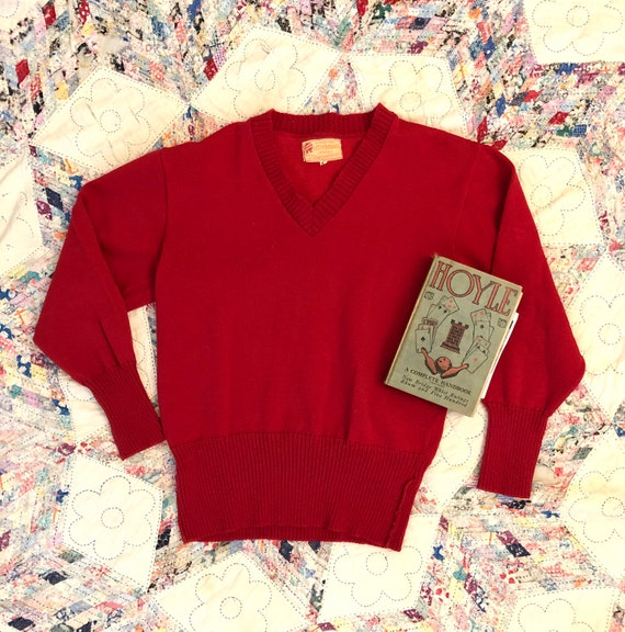 Vintage 1950s Red Wool Sweater / 50s Letterman Pul