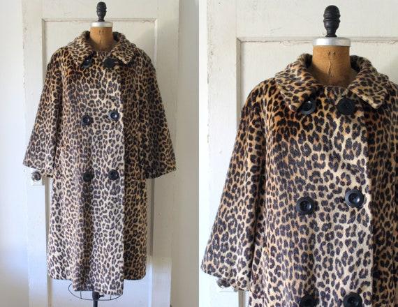 Vintage 1950s Leopard Print Coat / 50s Faux Fur Sw