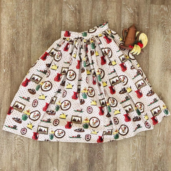 Vintage 1950s Novelty Print Circle Skirt / 50s Mid