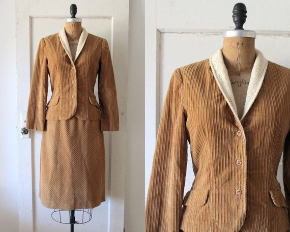 Vintage 1970s Tawny Brown Corduroy Suit with Knit